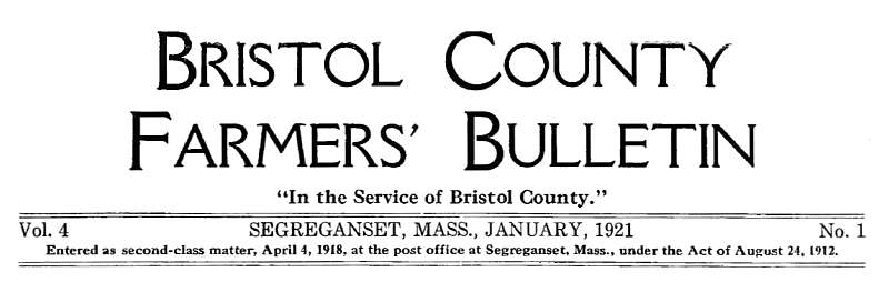 Bristol County Farmers' Bulletin (masthead) January 1921