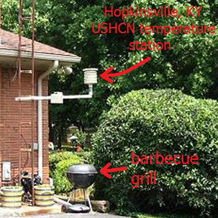 Hopkinsville USHCN temperature station directly above a barbecue grill