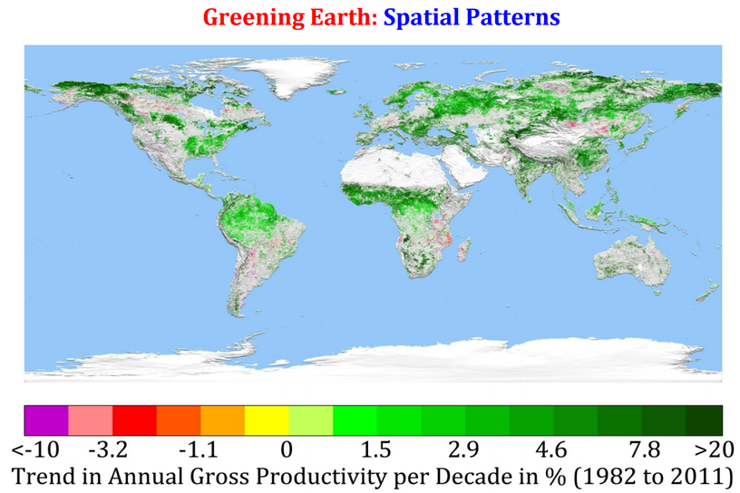 Greening Earth: spatial patterns (map)
